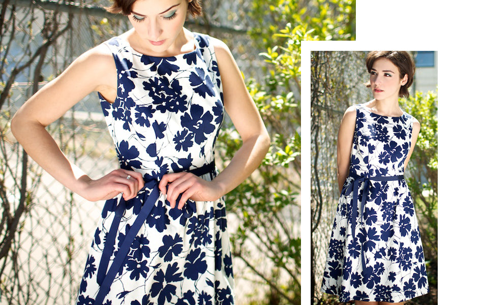 navy and white 50s style dress