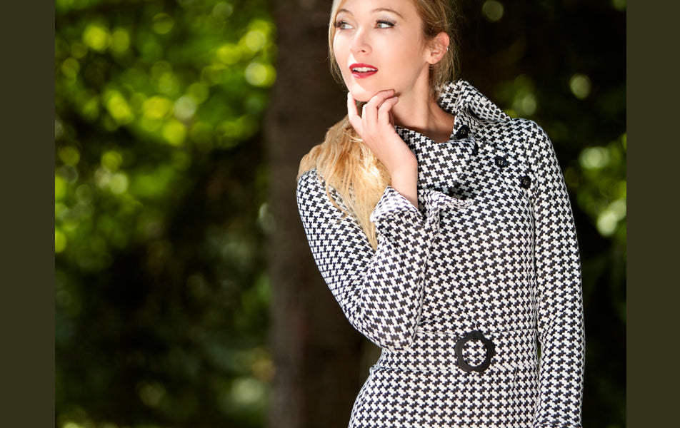 mod inspired houndstooth dress