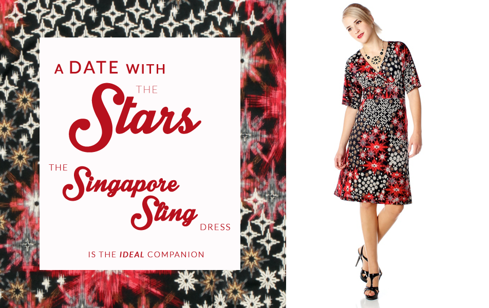 Kimono style dress with festive star print