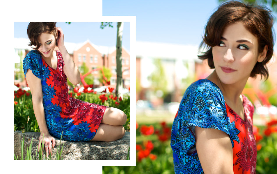 red and royal blue tunic dress