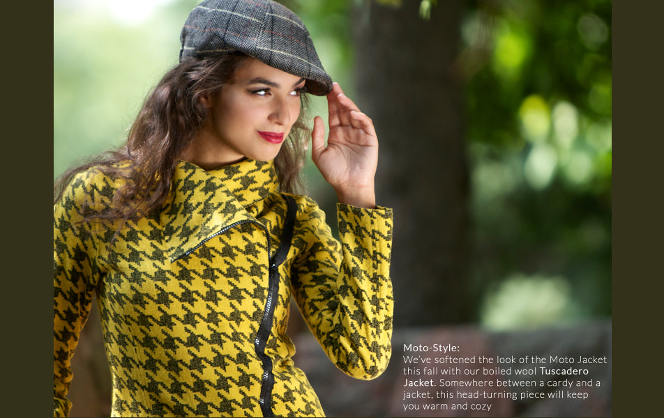 yellow houndstooth boiled wool moto style jacket