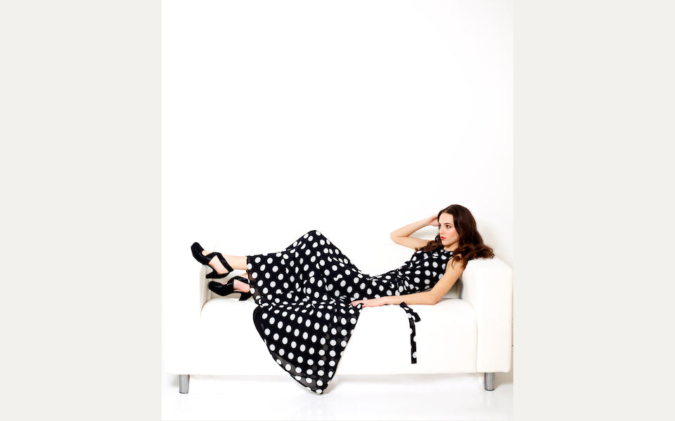 long and flowing Portsmouth Dress in polka dot chiffon
