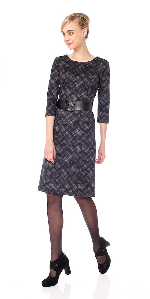 Jolie Dress, grey crosshatch