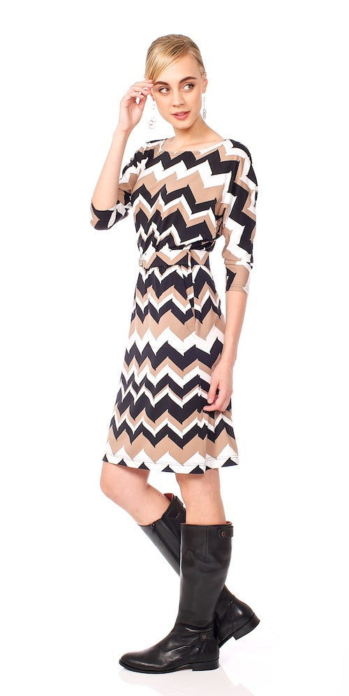 Dynasty Dress, taupe chevron