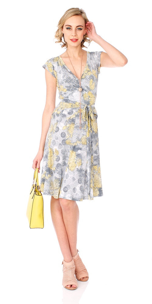 Mrs.Robinson Wrap Dress, sunlit floral