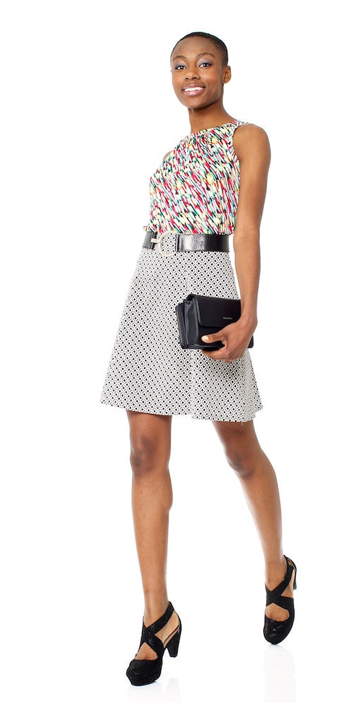 Winona Skirt, mini black ikat