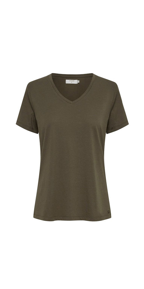 Cream V-neck Tee, dark army green