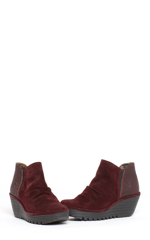Fly London Yamy, wine suede/croco