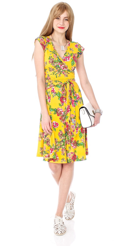 Mrs. Robinson Wrap Dress, sonoma yellow