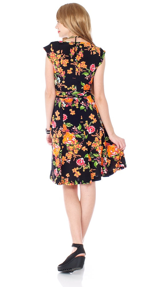 Mrs. Robinson Wrap Dress, sonoma black