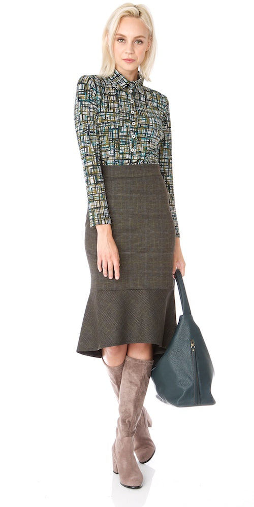 Ashford Skirt, moss plaid