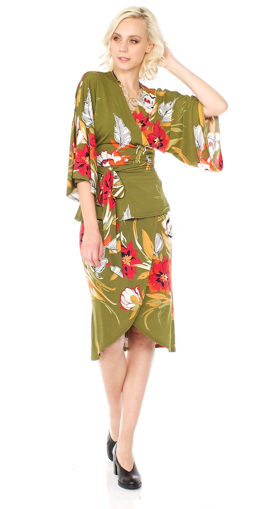 Armada Wrap Skirt, olive grove