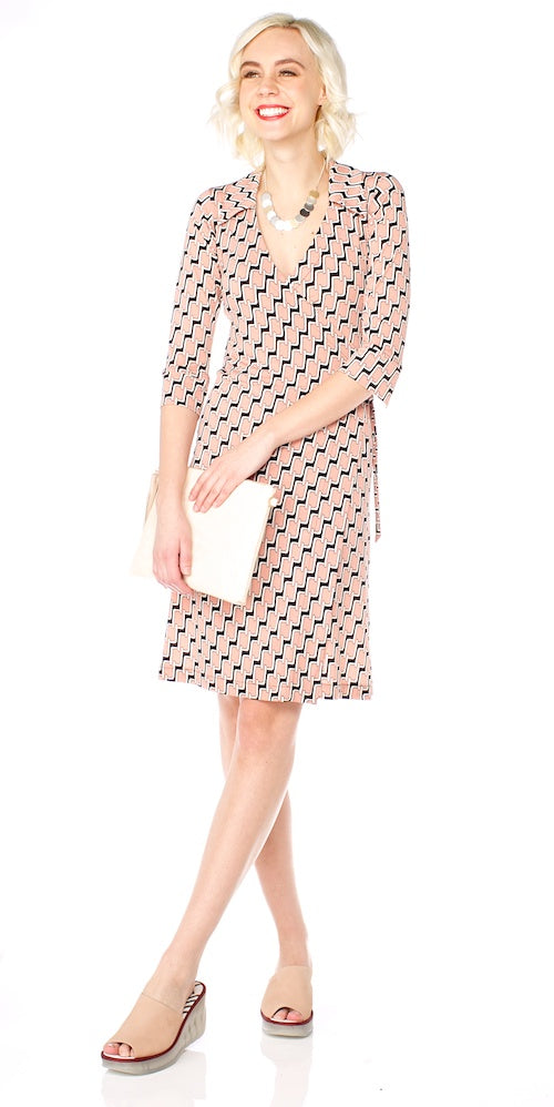 Skipper Wrap Dress, pink links