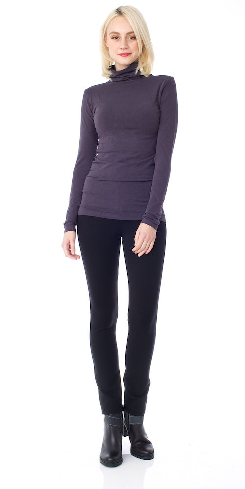 Bamboo Fitted Turtleneck Top