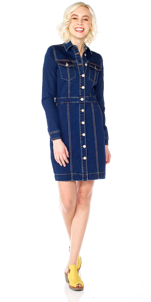 B.Young Denim Button-Up Dress