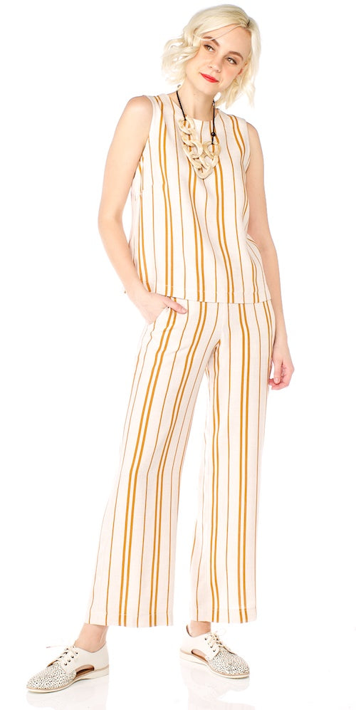 Luca Trousers, mustard stripe
