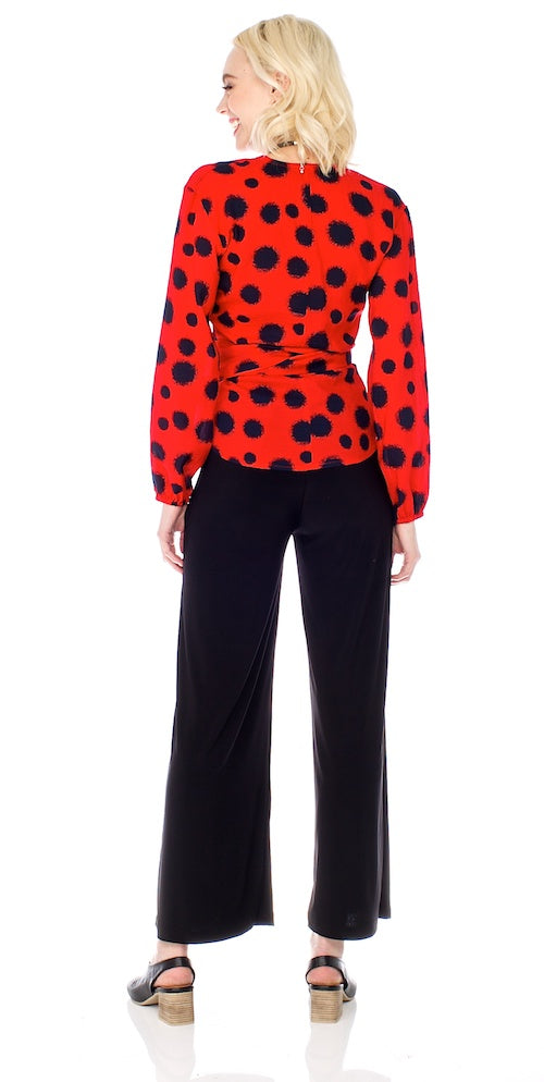 Kusama Wrap Blouse, red/navy