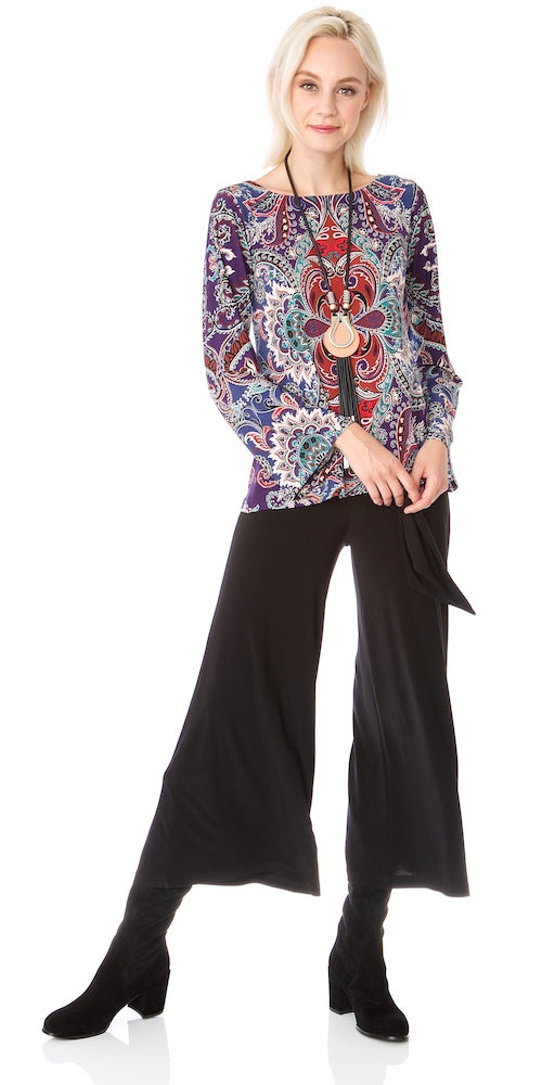 Kyra Medallion Top, plum mix