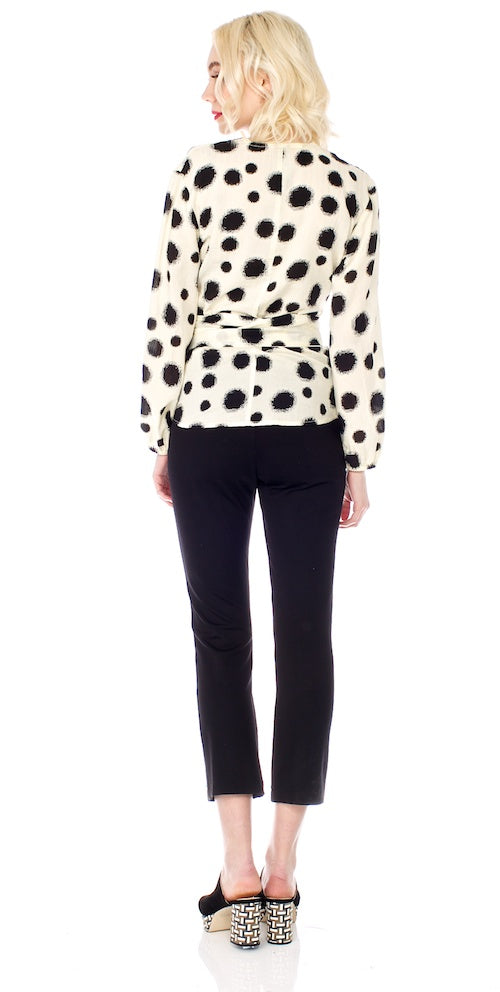 Kusama Wrap Blouse, cream/black