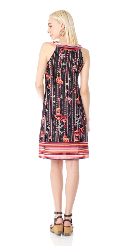 Lulu Swing Dress, orange/black
