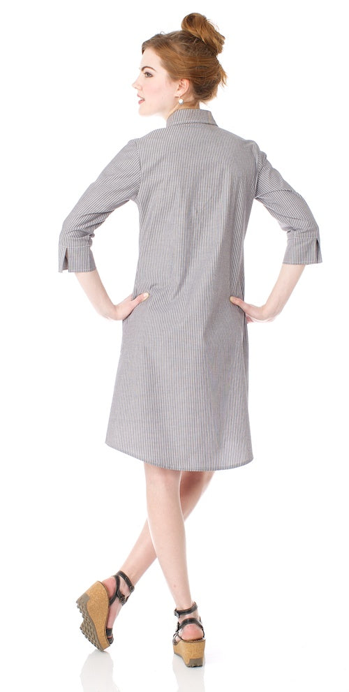 Quinn Shirt-Dress/Duster, chambray stripe