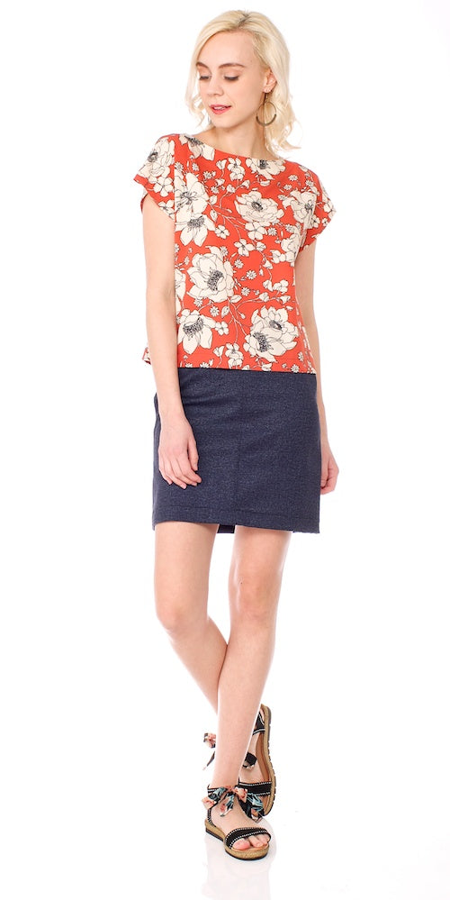 Boulevard Skirt, denim ponte