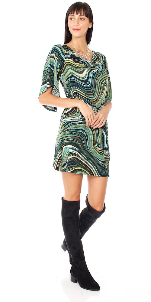 Nightfall Dress, marbled teal