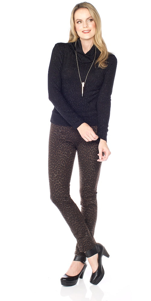 Rocket Crop Turtleneck, black shimmer