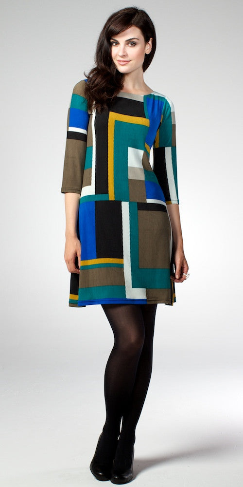 Goldie Dress, mod-block green