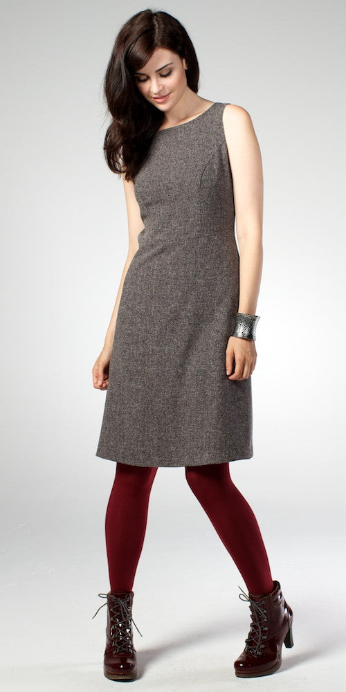 Kennedy Shift Dress, grey tweed