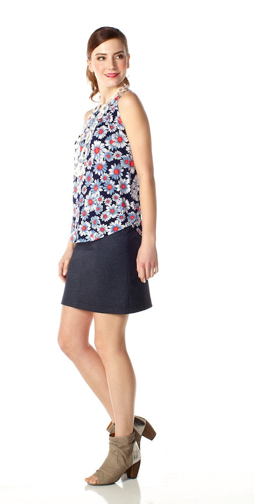 Boulevard Skirt, navy denim