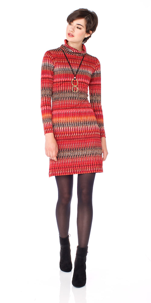 Matador Turtleneck Dress, red