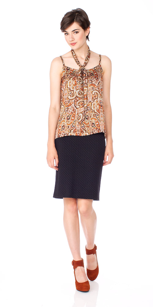 Lady B Pencil Skirt, black pin dot