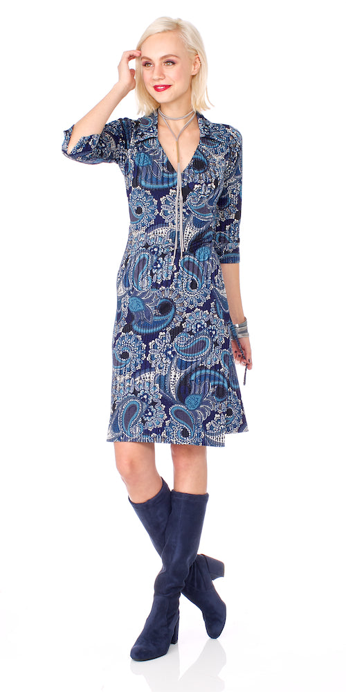 Skipper Wrap Dress, blue