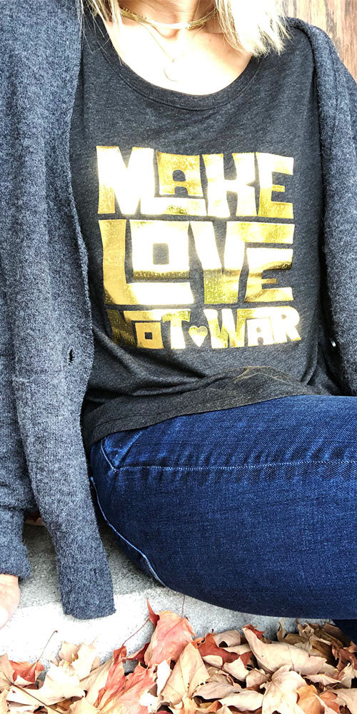 "Bergstrom ""Make Love"" Dolman Tee, charcoal/gold"
