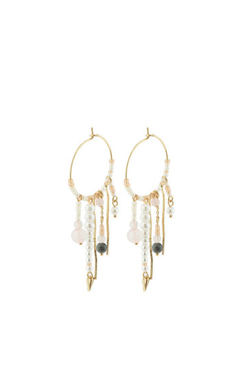 Pilgrim Nomad Beaded Hoop Earrings, gold