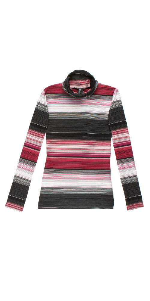 Bond 2 Turtleneck, magenta micro stripe