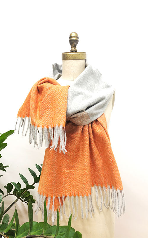 Two-Tone Scarf with Fringe