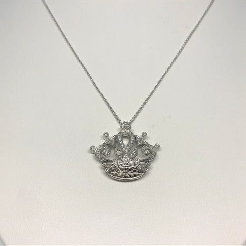 18K White Gold Diamond Crown Necklace 160-448