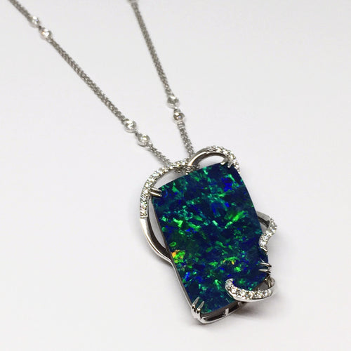 SPECTACULAR Opal and Diamond Pendant-Parle/Idaho Opal-Howard's Diamond Center