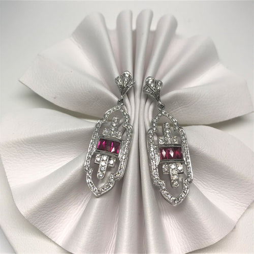 18k White Gold Diamond And Ruby Earrings 210-161