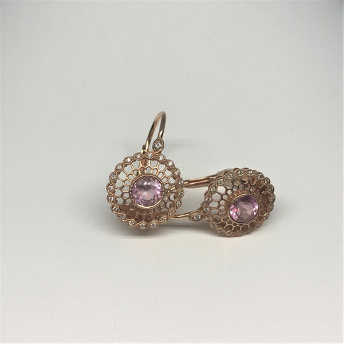 14K Rose Gold Morganite And Diamond Earrings 210-163