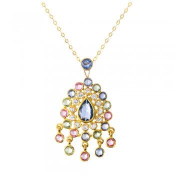 A Ladies 14K Yellow Gold Sapphire Necklace