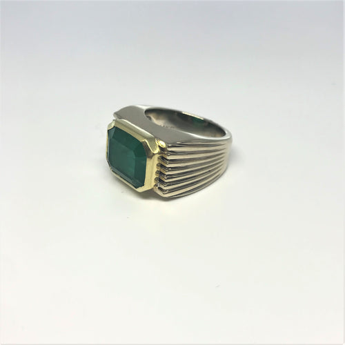 14K Two Tone 5.45 Carat Emerald Ring