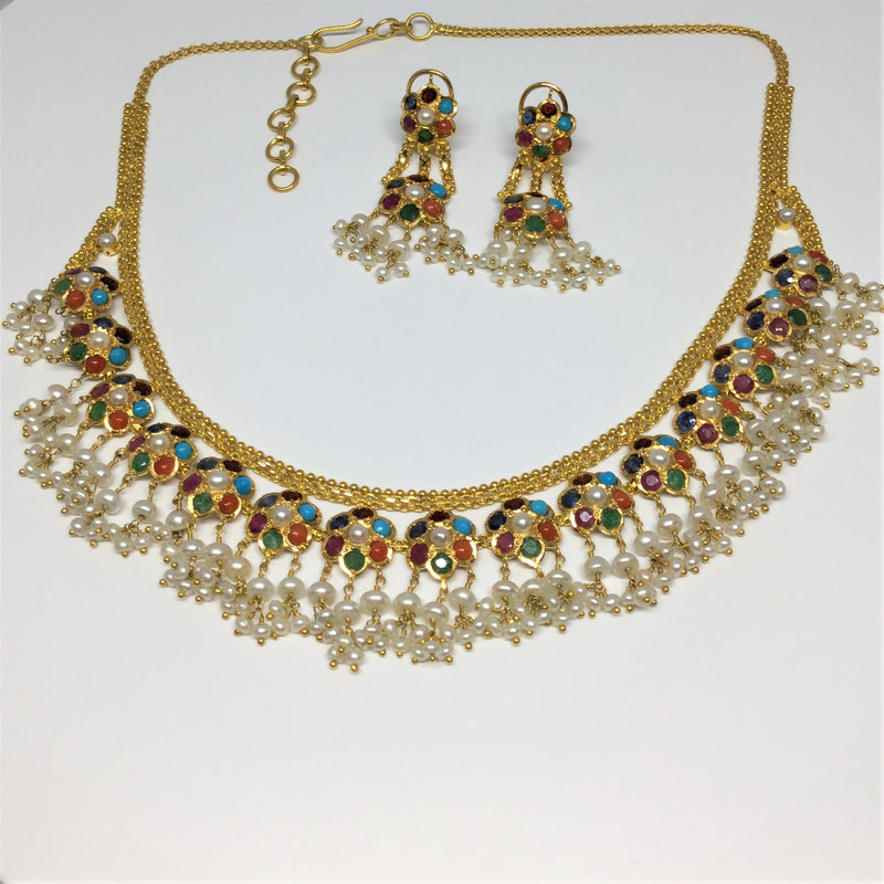 22K Yellow Gold Necklace And Earring Set