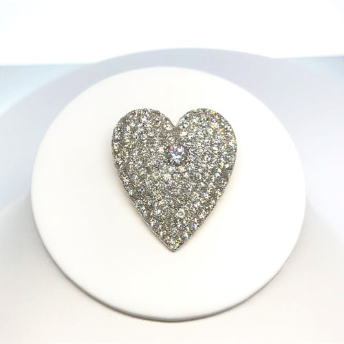 14K Two Tone Antique Pave Set Diamond Heart Pendant/Brooch