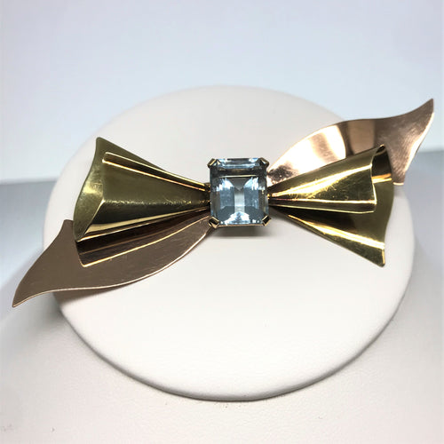 """Cartier"" 14K Yellow And Rose Gold Aquamarine Brooch"