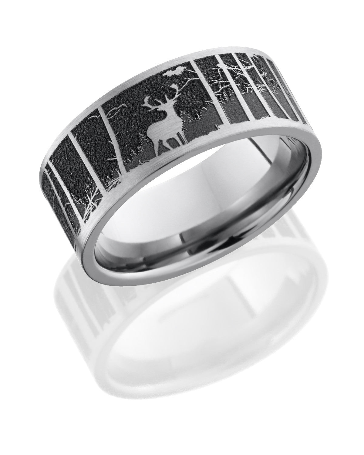 Titanium 9mm Flat Band with Laser Carved Elk Pattern and Mountains ...