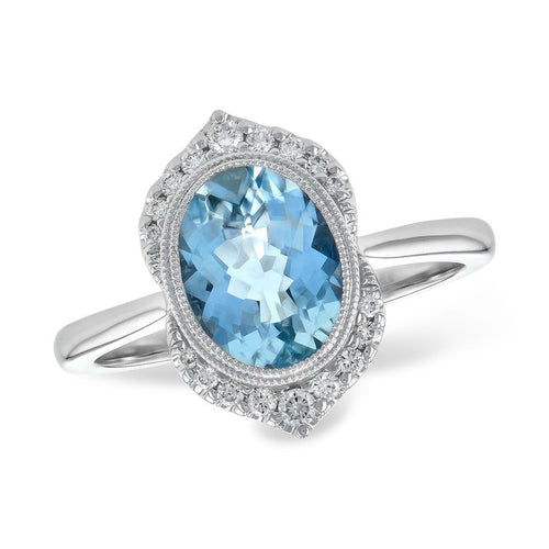 14K White Gold Diamond And Aquamarine