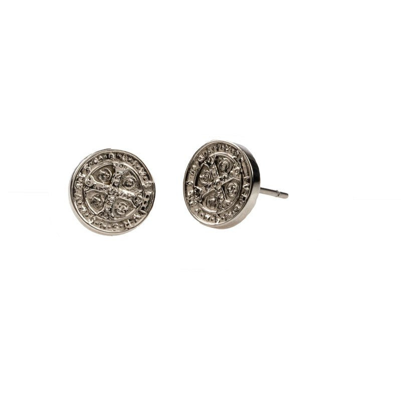 Benedictine Blessing Stud Earrings-My Saint My Hero-Howard's Diamond Center